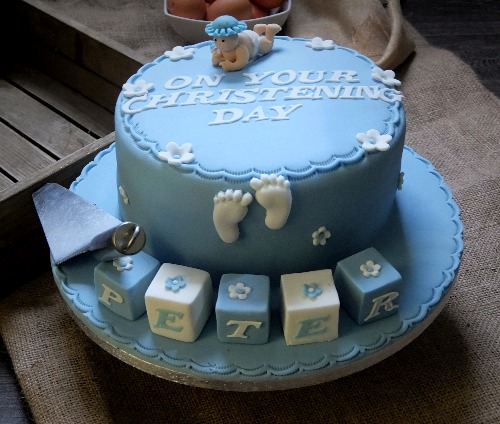 top tier of wedding cake for christening baby blocks blue mannings bakery 21069