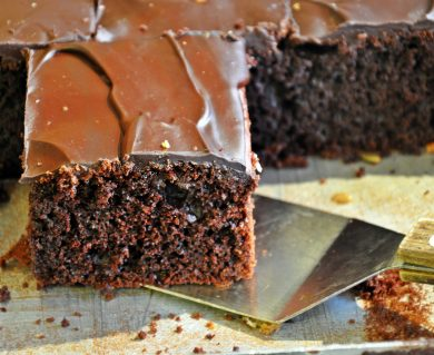 Chocolate slice with ganache topping