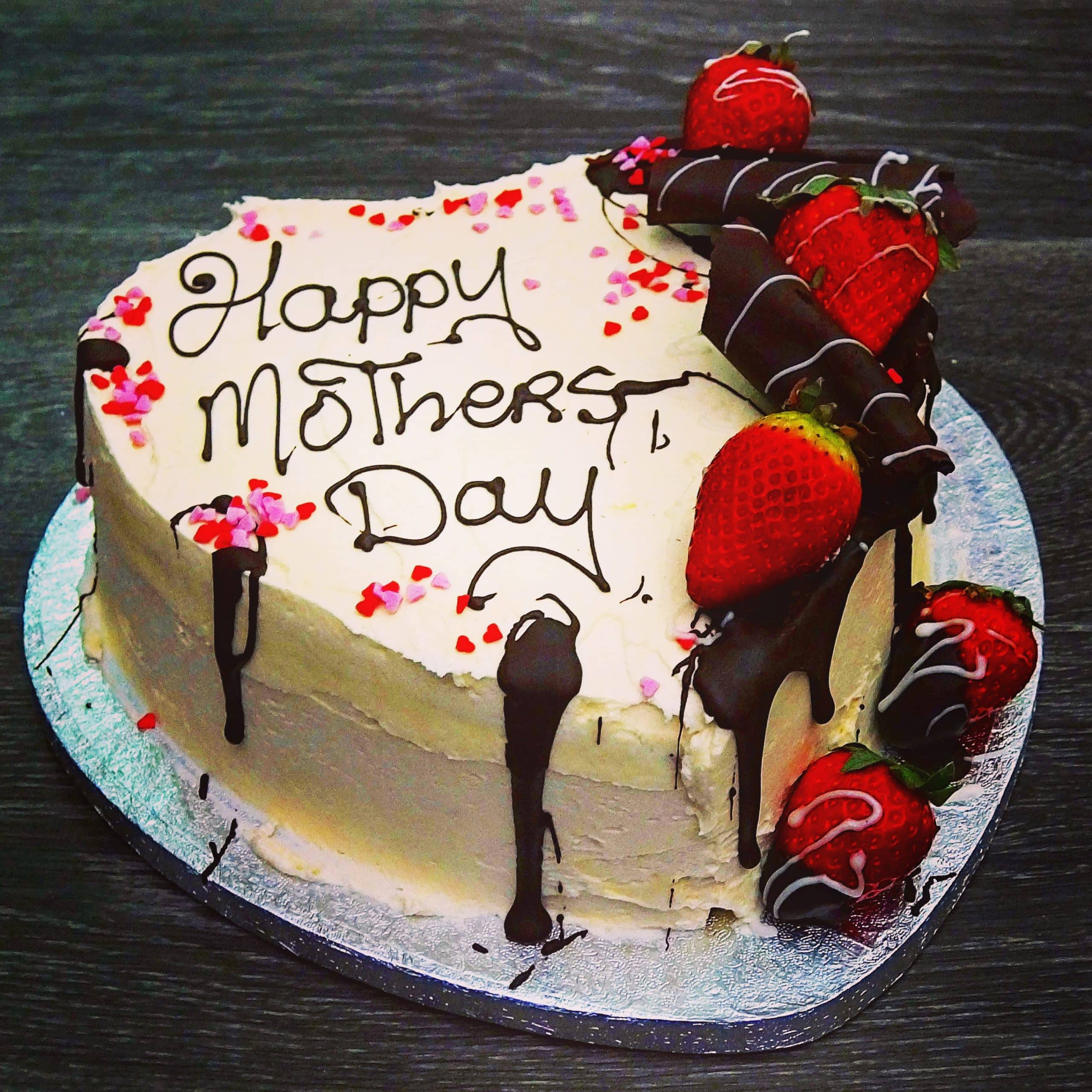 Strawberry Drip Cake Heart Mannings Bakery Mothers Day Cakes